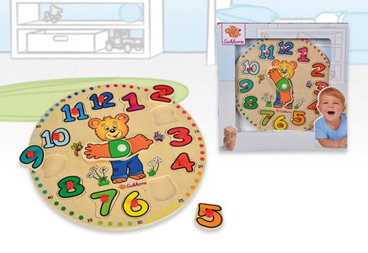 Reloj puzzle encajables de madera, 12 piezas_1