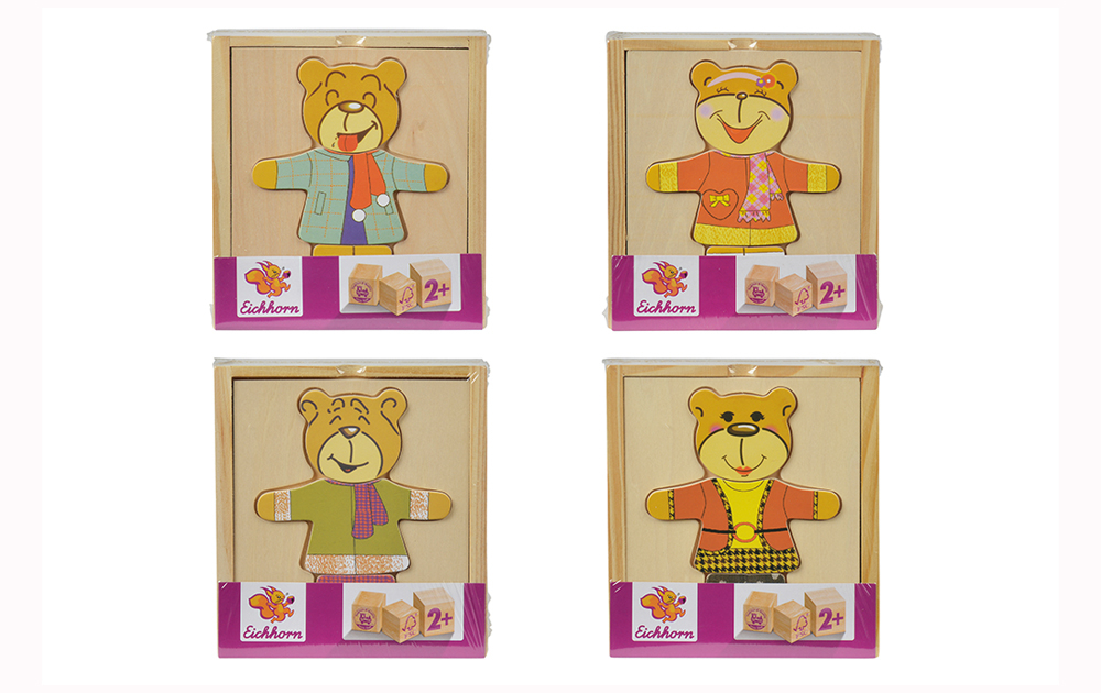 Puzzle madera oso vísteme, 4 modelos_2