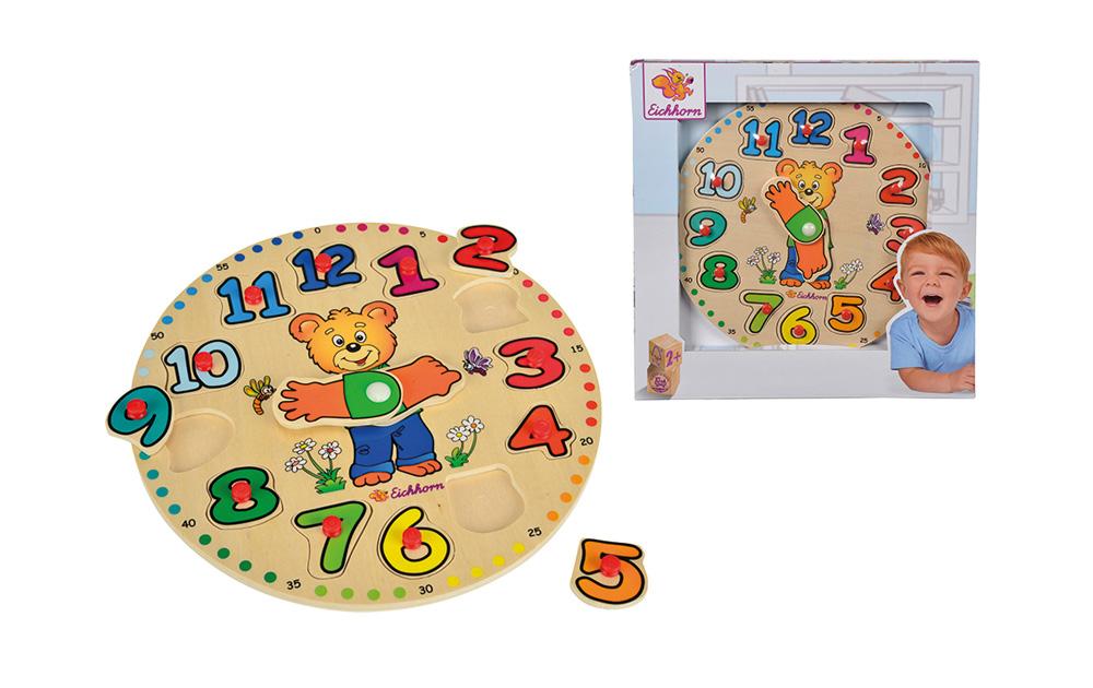 Reloj puzzle encajables de madera, 12 piezas_2
