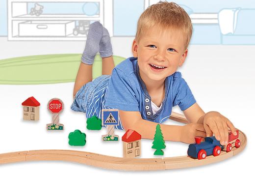 Pista circular de tren de madera 20 accesorios_1