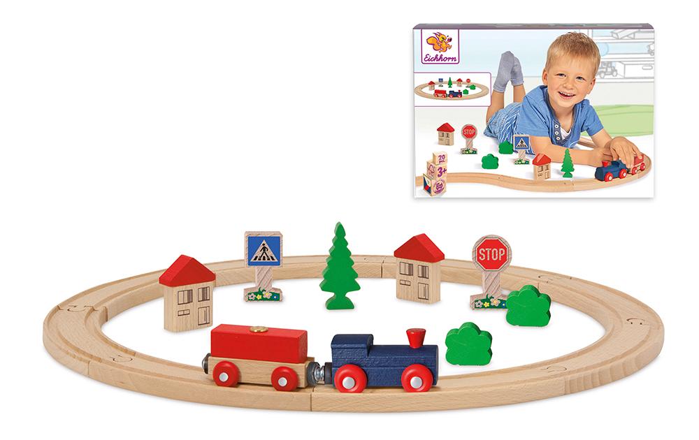 Pista circular de tren de madera 20 accesorios_2