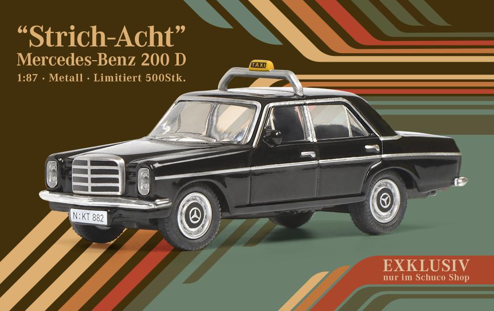 Schuco Modellauto-Mercedes Benz 200 Taxi-Modellauto 1:87